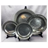 3 Antique Pewter Trays and a Basin