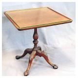 1930s Mahogany Glass Top Pedestal Occasional Table