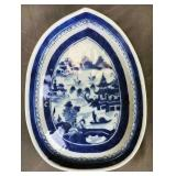 Canton 19th C. Blue and White Leaf Form Tray