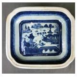 Canton Blue and White Deep Rectangular Bowl