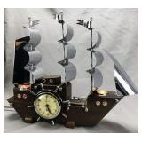 United Art Deco Chrome and Wood Ship Mantle Clock