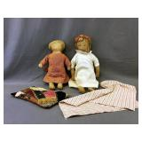 Ca 1900 Lithograph Cloth Dolls With Blankets