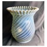 Large Opalescent Ruffled Swirl Glass Lampshade