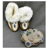Iroquois Beaded Pillow, Beaded Moccasins