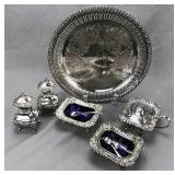 Collection of Silverplate and Cobalt Glass