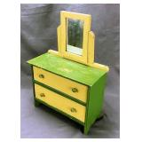 Miniature 1930s Painted Dresser with Mirror