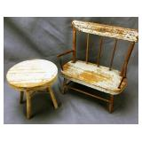 Miniature Antique Wooden Settee and Table