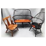 Miniature Wooden Settee and 2 Chairs