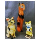 3 Chalk Cat Carnival Figures