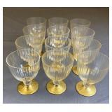 Set of 12 Fine Venetian Goblets Fluted, Gold Leaf