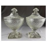 Pr. Anglo-Irish Cut Glass Covered Compotes C. 1810