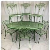 6 Woodard Orleans Wrought Iron Chairs and Table