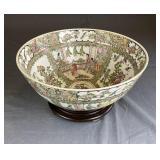 "Large Antique Rose Famille Bowl 14"" Diameter"