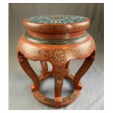 Chinese Red Lacquer and Cloisonne Garden Seat