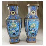 "Pair Hexagonal Chinese Cloisonne Vases 15 1/2"""