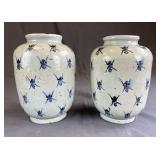 """Pair of Chinese Pottery """"Busy Ant"""" or """"Bee"""" Jars"""
