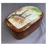 Antique Chinese Lacquer Box Porcelain Inlay Top