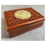 Chinese Cinnabar Box with inset Jade Medallion