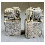 Pair of Chinese Carved Soapstone Elephants