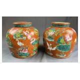 Pair Chinese Lotus, Crane Hand Painted Ginger Jars