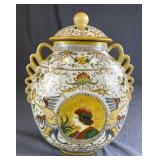 Large Hand Painted Chinese Porcelain Covered Jar