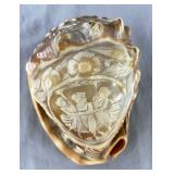 Victorian Cameo Carved Conch Shell, Three Graces