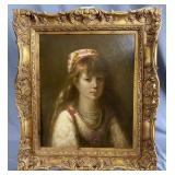 K. Smith Oil on Canvas Portrait of a Young Girl