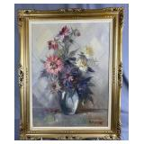 Midcentury Floral Oil Painting -O. Rocca - REO