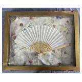 Vintage Lace Fan in Shadow Box Frame REO