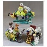 3 Unusual Hand Made Ceramic Bunny Figurines REO