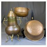 Antique Copper Samovar, Colander, Footed Pot