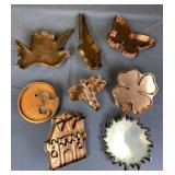 8 Hand Made Collectible Copper Cookie Cutters
