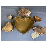 5 Valentine Copper Cookie Cutters and a Cake Pan