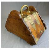 Early 20th C. English Coal Scuttle Brass Accents