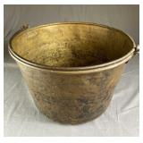 Large Brass Jelly Bucket Hand Wrought Bail Handle