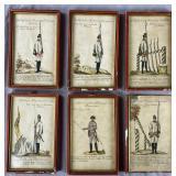 (6) 18th Century Military Aquatint Prints