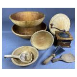 Collection of Antique Kitchen Wooden Ware