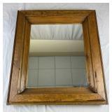 Antique Primitive Pine Framed Mirror