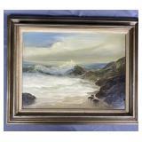 Oil on Canvas Seascape by Christine Shelhart 1971