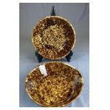 2 Large Bennington Rockingham Pottery Bowls