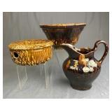 3 Rockingham Glazed Pieces Pitcher, Spittoon, Bowl