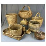 Group of 10 Vintage Hand Made Baskets