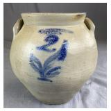 N Clark & Co Lyons. Ovoid Stoneware Crock