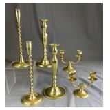 Collection of 3 Pairs of Brass Candleholders