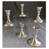 Group of 5 Weighted Sterling Candleholders