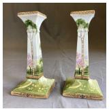 Pair 1920s Morimura Nippon Porcelain Candlesticks