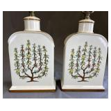 Pair Hand Painted Porcelain Lamps Espaliered Trees