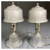 Pair of 1930s Etched Glass Vanity Lamps