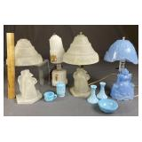 Group of Vintage Dutch Themed Glass Lamps...