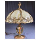 Antique Panel Slag Glass Table Lamp